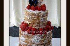 Victoria-Sponge-wedding-cake-with-handmade-bride-and-groom